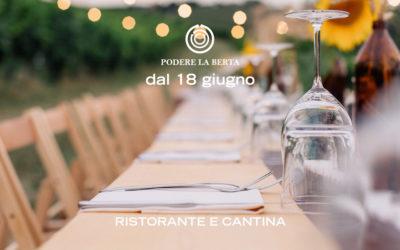 Una nuova stagione a Podere La Berta: dal 18 giugno aperto il ristorante